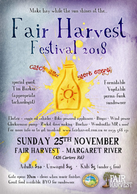 "Fair Harvest Festival and Charlie Mgee Sundowner 25th November 2018 ""Catch and Store Energy"""